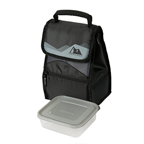 Arctic Zone Insulated Lunch Box (Dark Grey and Black) with Free Food Container (Lunch Artic Zone Bags)