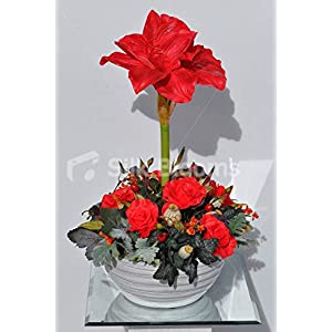Silk Blooms Ltd Artificial Red Fresh Touch Amaryllis Flower Display w/Roses and Foliage 104