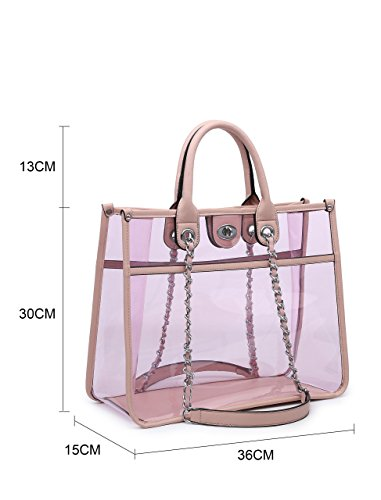 Tote Through Rainproof Semi Shop Summer Shoulder Top 1 See in Bag Jelly PVC Beach Big 2 Fashion Transparent Handbag Clear Black Handle vWgnxwUCqp