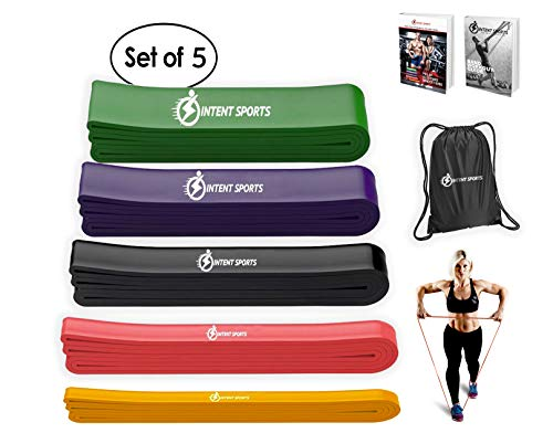 INTENT SPORTS Pull up Assist 5 Bands Set – Assistance and Resistance 5 Bands for Pull-Up, Fitness, Body Stretching, Mobility Work, Powerlifting, Weightlifting, Exercises - Heavy Duty - eBook!