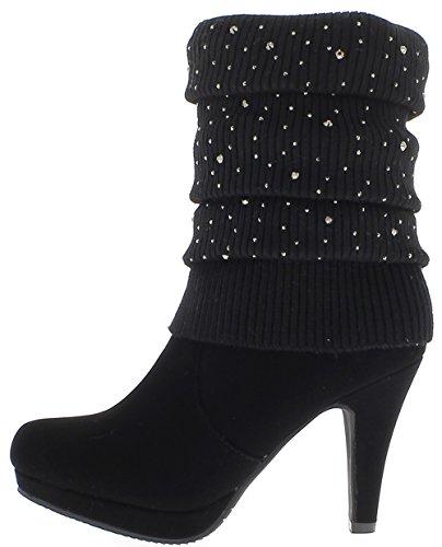 ChaussMoi Zapatos de tacón alto 9.5 cm tallo calcetín botas de mujer negro Strass