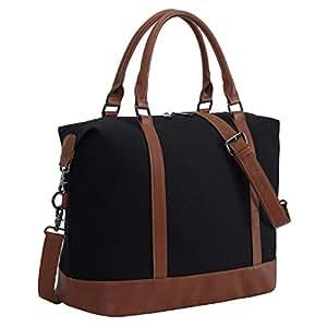 Women Ladies Canvas Weekender Bag Overnight Carry-on Tote Duffel in Trolley Handle (Black)