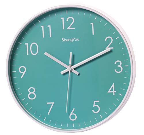 SonYo Indoor Non-Ticking Silent Quartz Modern Simple Wall Clock Digital Quiet Sweep Movement Office Decor 10 Inch Bluegreen