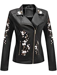 Faux Leather Jackets for Women,Soft Casual Short Floral Moto Jacket