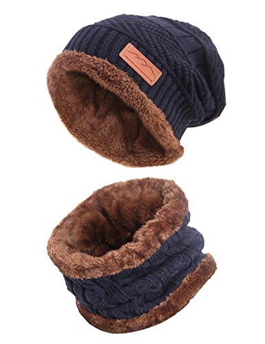 Men Beanie Hat Scarf Set Slouch Warm Knit Hat Neck Warmer for Winter by MissShorthair
