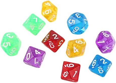 ZengBus Juegos 10pcs / Set Multi Sides Dice D10 Juego de Dados Juego de 5 Colores Mundial - Transparente: Amazon.es: Juguetes y juegos