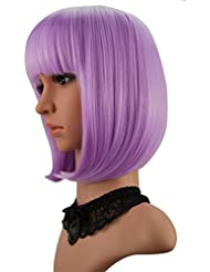 """eNilecor Short Bob Hair Wigs 12"""" Straight with Flat Bangs Synthetic Colorful Cosplay Daily Party Wig for Women Natural As Real Hair+ Free Wig Cap (Lavender Purple)"""