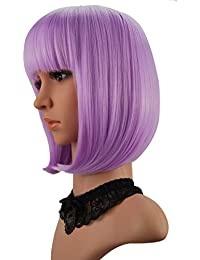 "Short Bob Hair Wigs 12"" Straight with Flat Bangs Synthetic Colorful Cosplay Daily Party Wig for Women Natural As Real Hair+ Free Wig Cap (Lavender Purple)"