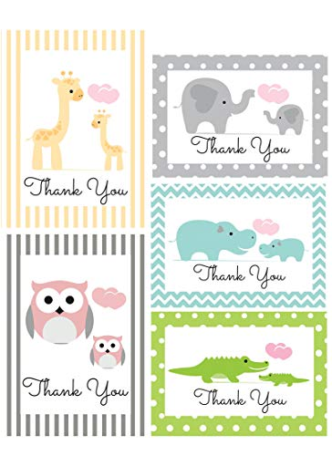 Thank You Cards for Baby, Shower, Kids - Jungle Animal Safari - Assorted Bulk, 50 Note Card Boxed Set, Blank Inside with White Envelopes - Made in The USA ()