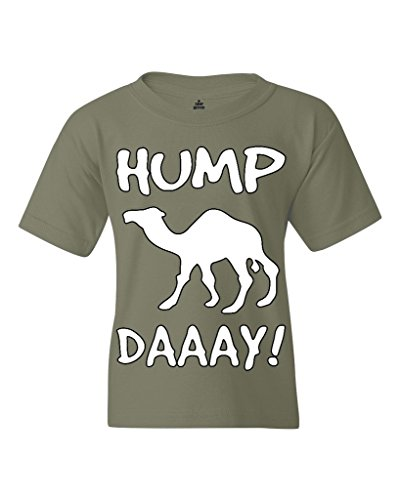 Camel Commercial HUMP DAY Youth's T-Shirt Funny Sayings Shirts Youth X-Small Military Green