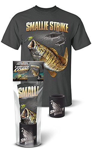 Follow the Action Smallmouth Bass Smallie Strike Fishing T-Shirt and Koozie Combo Gift Set -