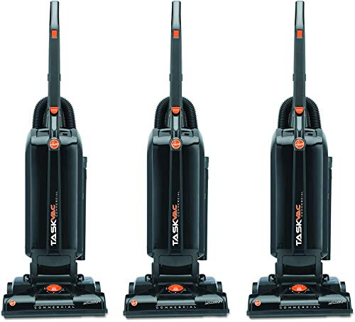 Hoover Commercial CH53005 TaskVac Hard-Bagged Lightweight Upright Vacuum, 13-Inch, Black (Three Pack)