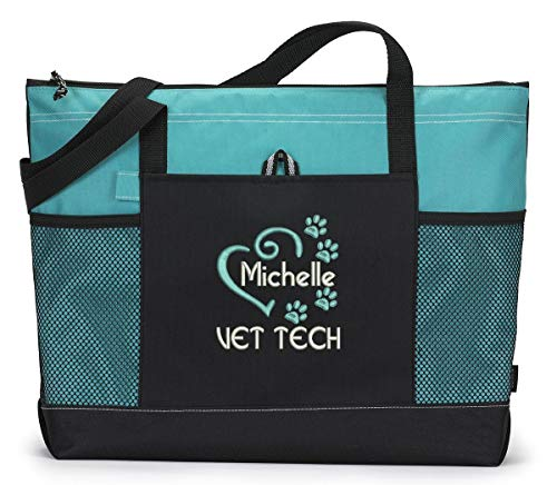 Front Zippered Gusset Pocket - Vet Tech, Veterinarian Heart Paw Prints Embroidered Zippered Tote Bag