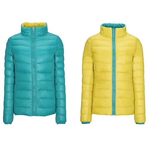 Lightweight Green Coat Outwear Down Women's and Yellow Slim ZiXing Jacket Outwear Reversible BqwRSag