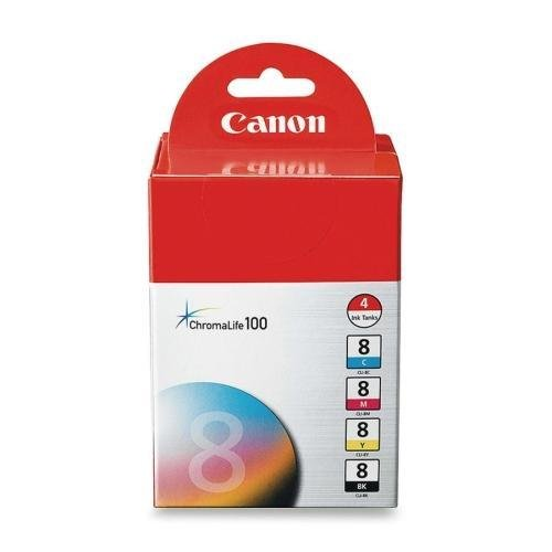 Canon CLI84PK (CLI-8) Ink Tank Cartridge, Black/Colors, 4/PK in Retail Packaging