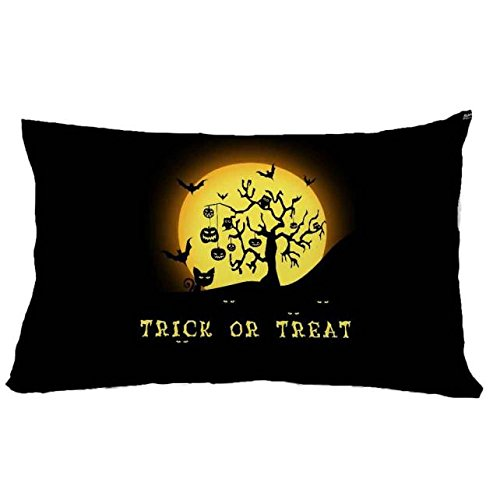 Set of 3 Halloween Square Linen Decorative Throw Pillow Case Cushion Covers for Sofa Home Decor -Trick or Treat-3050cm (M, One Size) for $<!--$12.81-->