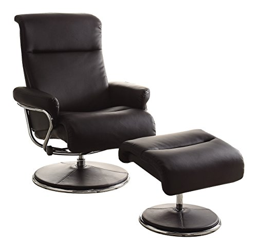 Homelegance 8550BLK-1 Swivel Reclining Chair with Ottoman, Black Bonded Leather Match Review