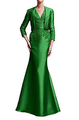 Etui V 2017 Damen Ivydressing Bolero Satin mit aermellos bodenlang Abendkleid Neck Applikation Neu Brautmutterkleid Jaegergruen Promkleid patXanWUq