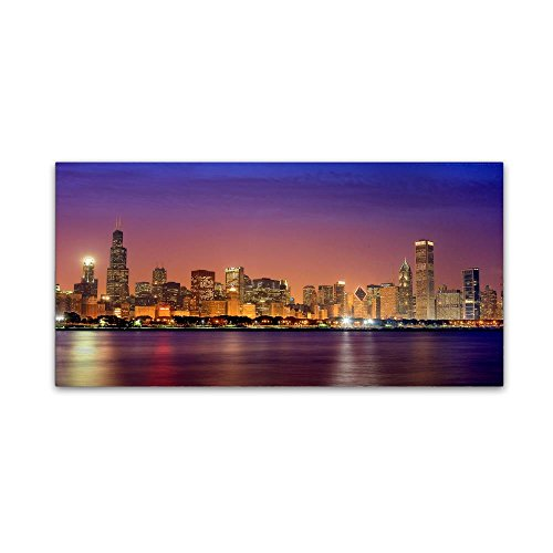 Chicago Dusk full skyline by Mike Jones Photo, 16x32-Inch Canvas Wall - Place Water Chicago Tower