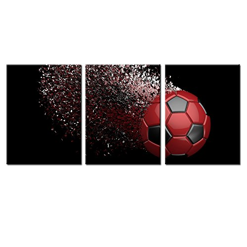(Black and Red Soccer Football Wall Art Paintings Poster Boys Room Wall Decal Art Wrapped on Frames 3 Pieces for Kids Room Decoration Ready to Hang,12x16inchx3 (Red))