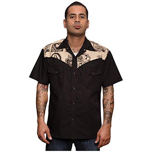 Mens-Steady-Clothing-Mezcal-Western-Shirt-Black