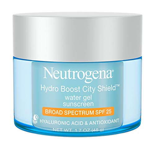 (Neutrogena Hydro Boost City Shield Water Gel with Hydrating Hyaluronic Acid, Antioxidants, and Broad Spectrum SPF 25 Sunscreen, Oil-Free, Alcohol-Free, Non-Comedogenic, 1.7 oz)