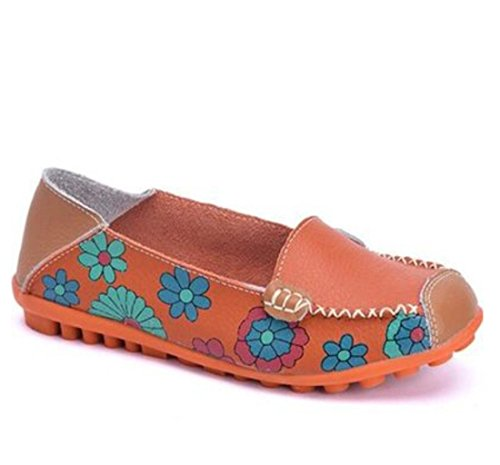 IF FEEL Womens Casual Walking Slip-On Loafers Floral Print Moccasins Driving Flat Shoes (9 B(M) US, Orange) (Flats Suede Print)