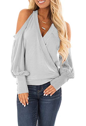 (Yingkis Women's Cold Shoulder Tops Long Sleeve Deep V-Neck Wrap Front Blouse Loose Pullover,Light Grey L)