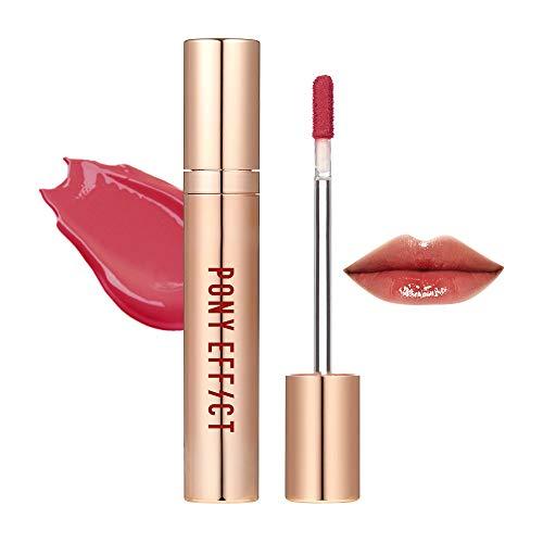PONY EFFECT Favorite Fluid Lip Color #Sheer Delight (Dusty Rose) 4.6g, 0.16 Ounces, Silky Texture, Dusty Rose Moisture Lliquid Lip Gloss, Glossy Dusty Rose Color, Lip Stain