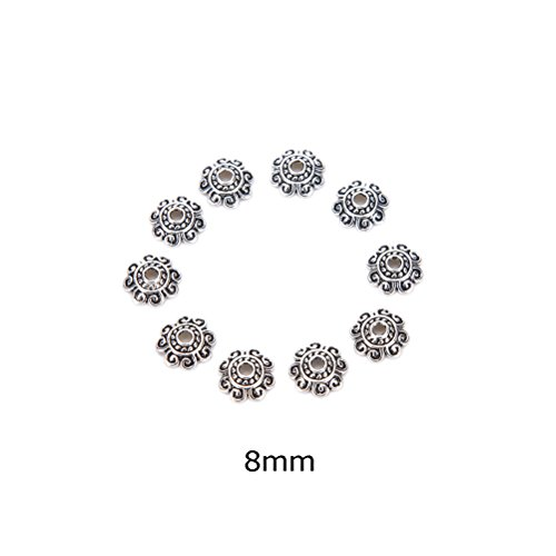Alloy Beads - AOWA 100Pcs Tibetan Silver lotus Flower End Bead Caps For Jewelry Craft DIY Jewelry Accessories,8MM