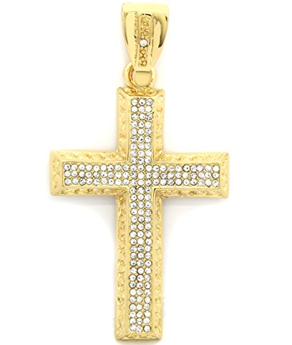 Mens Gold Plated Iced Out Large Fenced Cross Hip Hop Pendant (40 Inch Gold Necklaces Pendants)