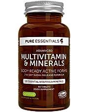 Pure Essentials Multivitamin & Minerals - Multivitamines et Minéraux avancés avec folate, vitamine D3 et vitamine K2, végétalien, 60 comprimés