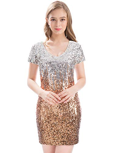 bcf0c92323 MANER Women s Sequin Glitter Short Sleeve Dress Sexy V Neck Mini Party Club Bodycon  Gowns(