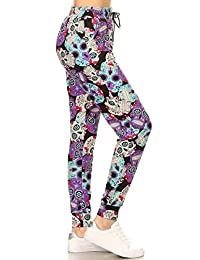 Leggings Depot Premium Jogger Women's Popular Printed High Waist Track Yoga Full Pants (S-XL)