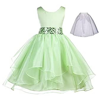 Amazon.com: Wedding Ruffles Organza Flower Girl Dress ...