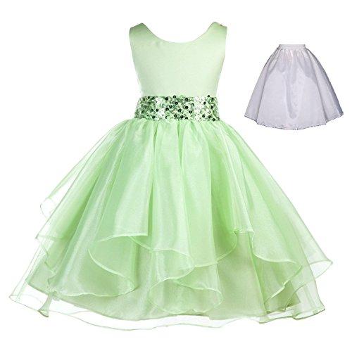 Wedding Ruffles Organza Flower Girl Dress Sequin Toddler Pageant Free Petticoat 012s Green Flower Dress
