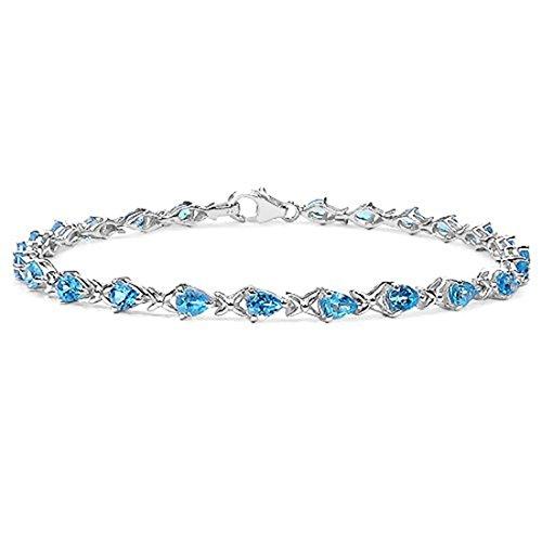 La Collection de Bracelet la Topaze Bleue : le Bracelet en Argent Sterling 24 Se range de la Poire et la Topaze Bleue et le Bracelet de Baiser avec 3.36 carats de Topaze Geniune suisse Azul.