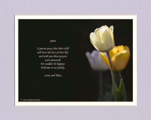 Personalized Daughter in Law Gift with Welcome to the Family Poem. White Tulip Photo, 8x10 Double Matted. Great Wedding Gift. (Law Photo)