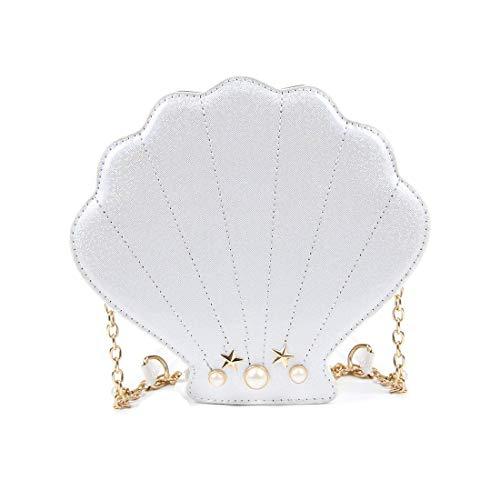 Barabum Unique Crossbody Bags Cute Shell Shape Bag Messenger Lolita Mini Handbag for Women (White)