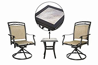 LUCKYBERRY Patio Chair Swivel 3 Piece Bistro Table Chairs Set with Ceramic Tiles Rocking Patio Garden Backyard Outdoor Patio Furniture Brown