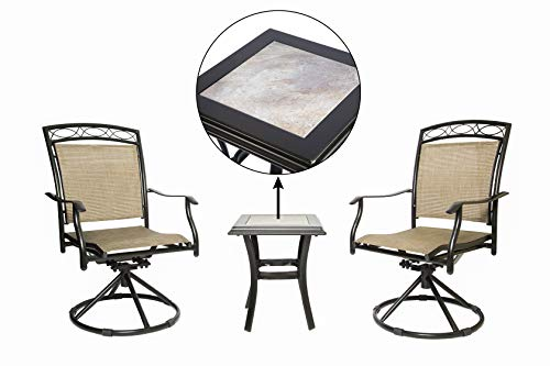 LUCKYBERRY Patio Chair Swivel 3 Piece Bistro Table Chairs Set with Ceramic Tiles Rocking Patio Garden Backyard Outdoor Patio Furniture Brown (Chairs Bistro Table And Cheap)
