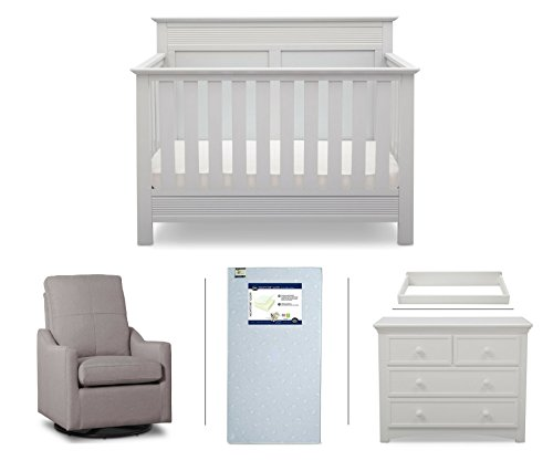 Serta Fall River 5-Piece Nursery Furniture Set (Serta Convertible Crib, 4-Drawer Dresser, Changing Top, Serta Crib Mattress, Glider), White/French Grey