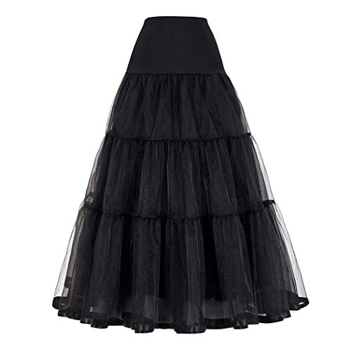 Mojonnie Women's Floor Length Wedding Petticoat Long Underskirt for Formal Dress(Black-XL)
