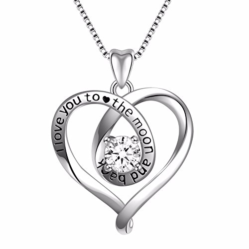 Angemiel 925 Sterling Silver 3A Round Cubic Zirconia Heart Women Necklace Pendant 18