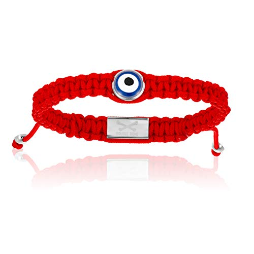 Double Bone Evil Eye Handmade Braided Bracelet with Silver Lucky Eye Unisex and Adjustable (Red, 18) ()