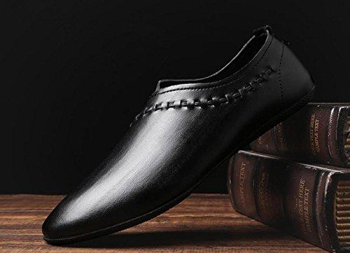 Zapatos 2018 de Blanda Zapatos Cuero de de Hombres Suela Mocasines Nuevos Conducción los Informal Negro de Zapatos frfSqwB