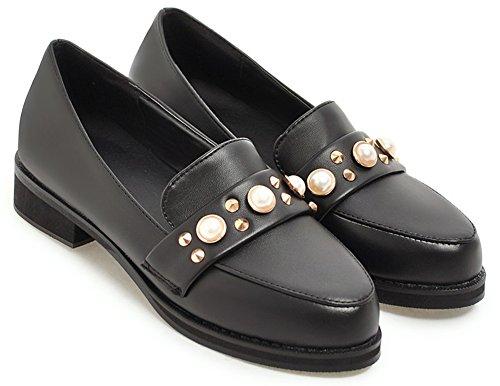 IDIFU Womens Retro Slip on Round Roe Low Chunky Heel Low Top Daily Pumps Shoes Black