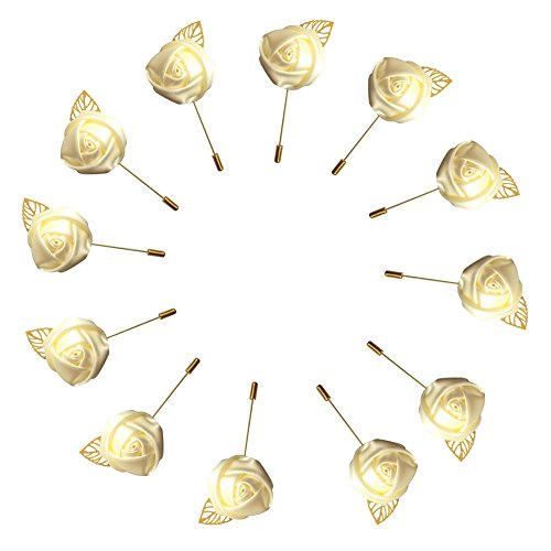 Mens Boutonniere - WeddingBobDIY 12Pieces/lot Groom Boutonniere Wedding Silk Rose(3.5cm) Flowers Accessories Prom Pin Man Suit Decoration Ivory