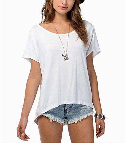 Sheinside Women's White Short Sleeve Falling Behind Tunic Top