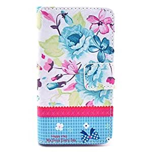 JJE Beautiful Rose Peony Flower Pattern PU Leather Full Body Case Cover with Stand for iPhone 4/4S